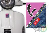 Front Badge Overlay Love Denim with V on Hot Pink 3D Decal for various Vespa models