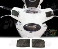 Carbon Fiber Look Mirror Delete Handlebar pump covers overlay Left and Right 3D Decals for various Vespa GTS models