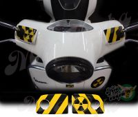 RadioActive Handlebar pump covers overlay Left and Right 3D Decals for various Vespa GTS models