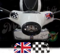 UK Union Jack flag and checkered flag Handlebar pump covers overlay Left and Right 3D Decals for various Vespa GTS models