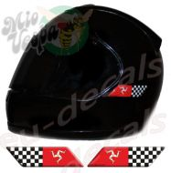 Helmet Isle Of Man and Checkered Flags 3D Decals Set Left and Right